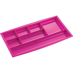 """CEP 7-compartment Desk Drawer Organizer - 7 Compartment(s) - 0.8"""" Height x 13.5"""" Width7.3"""" Length - Pink - Polystyrene - 1 Each"""