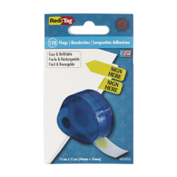 Redi-Tag® Preprinted Signature Flags In Dispenser, SIGN HERE, Yellow
