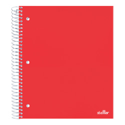 "Office Depot® Brand Stellar Poly Notebook, 8-1/2"" x 11"", 3 Subject, Wide Ruled, 300 Pages (150 Sheets), Red"