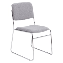 """National Public Seating 8600 Signature Series Padded Fabric Seat, Fabric Back Stacking Chair, 16"""" Seat Width, Gray Seat/Chrome Frame, Quantity: 1"""