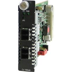 Perle CM-1000MM-S2LC40 Media Converter - 2 x LC Ports - DuplexLC Port - 1000Base-SX, 1000Base-EX - Internal