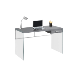 Monarch Specialties Computer Desk With Glass Base, Gray