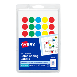 "Avery® Removable Color-Coding Round Labels, 5473, 3/4"", Assorted Colors, Pack Of 1,015"