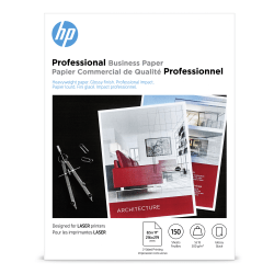 "HP Professional Business Paper for Laser Printers, Glossy, Letter Size (8 1/2"" x 11""), Heavyweight 52 Lb, Pack Of 150 Sheets (4WN10A)"