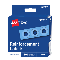 Avery® Permanent Self-Adhesive Reinforcement Labels, Clear, Pack Of 200