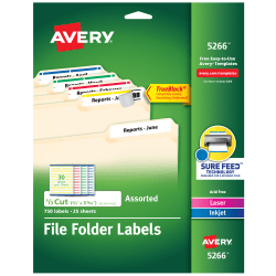 "Avery® TrueBlock® Permanent Inkjet/Laser File Folder Labels, 5266, 2/3"" x 3 7/16"", Assorted, Box Of 750"
