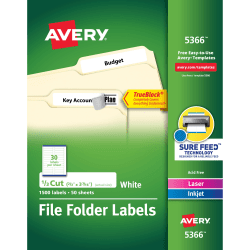 "Avery® TrueBlock® Permanent Inkjet/Laser File Folder Labels, 5366, 2/3"" x 3 7/16"", White, Box Of 1,500"