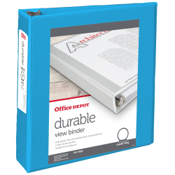 """Office Depot® Brand Durable View Round-Ring Binders, 2"""" Round Rings, Blue"""