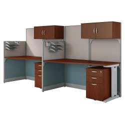 Bush Business Furniture Office in an Hour 2 Person Cubicle Workstations, Hansen Cherry, Premium Installation