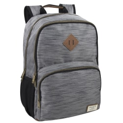 "Benrus Double-Compartment Backpack With 17"" Laptop Pocket, Gray/Brown"