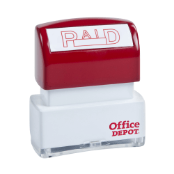 """Office Depot® Pre-Inked Message Stamp, """"Paid"""", Red"""