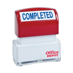 """Office Depot® Brand Pre-Inked Message Stamp, """"Completed"""", Blue"""