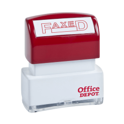 "Office Depot® Brand Pre-Inked Message Stamp, ""Faxed"", Red"