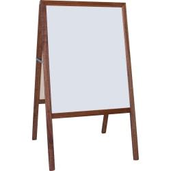 Flipside Dark Frame Signage Easel - Stained White/Black Surface - Hardwood Frame - Rectangle - 1 Each
