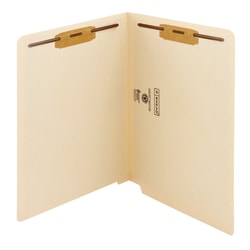 "Smead® End-Tab File Folders With Antimicrobial Product Protection, Reinforced Tab, 2 Fasteners, Straight Cut, 9 1/2"" x 12 1/4"", Pack Of 50"