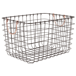 Realspace® Metal Wire Bin With Handles, Medium Size, Black/Copper