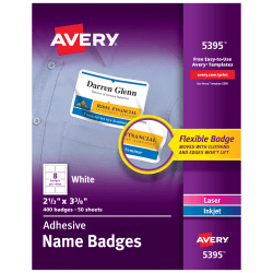 """Avery® Flexible Name Badge Labels, 2 1/3"""" x 3 3/8"""", White, Box Of 400"""