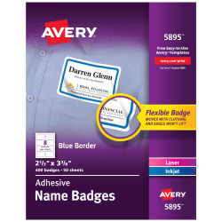 """Avery® Flexible Name Badge Labels, 2 1/3"""" x 3 3/8"""", White With Blue Border, Box Of 400"""