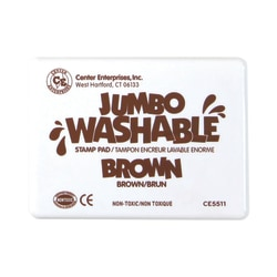 """Center Enterprise Jumbo Washable Unscented Stamp Pads, 6 1/4"""" x 4"""", Brown, Pack Of 2"""