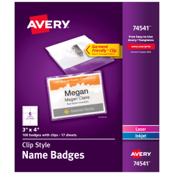 """Avery® Clip Style Name Badges, Top Loading, 3"""" x 4"""", Box Of 100"""