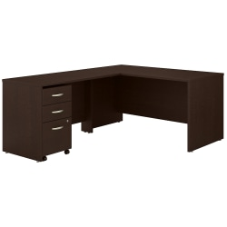 """Bush Business Furniture Components 60""""W L-Shaped Desk With 3-Drawer Mobile File Cabinet, Mocha Cherry, Standard Delivery"""
