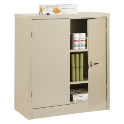 "Realspace® Steel Storage Cabinet, 3 Shelves, 42""H x 36""W x 18""D, Putty"