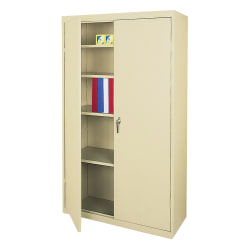 "Realspace® Steel Storage Cabinet, 5 Shelves, 72""H x 36""W x 18""D, Putty"