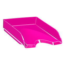 """CEP Plastic Gloss Letter Tray, 2-5/8""""H x 10-1/8""""W x 13-11/16""""D, Pretty Pink"""