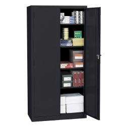 "Realspace® Steel Storage Cabinet, 5 Shelves, 72""H x 36""W x 18""D, Black"