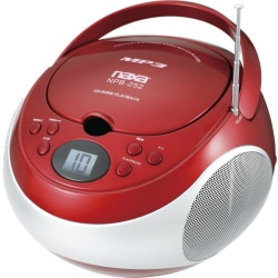 Naxa Portable MP3/CD Player with AM/FM Stereo Radio - 1 x Disc - 2.40 W Integrated Stereo Speaker - Red - CD-DA, MP3 - Auxiliary Input