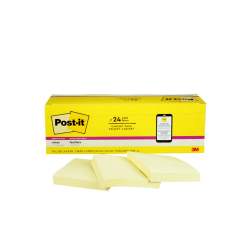 """Post-it® Super Sticky Notes, 3"""" x 3"""", Canary Yellow, Pack Of 24 Pads"""