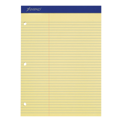 """Ampad® Perforated 3-Hole Punched Dual Writing Pad, Law Rule, 8 1/2"""" x 11 3/4"""", Canary, 100 Sheets Per Pad"""
