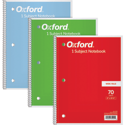 """Oxford Wide Rule 1-Subject Spiral Notebook - 70 Sheets - 140 Pages - Spiral Bound Red Margin - 3 Hole(s) - 10 1/2"""" x 8"""" - 10.5"""" x 8"""" - White Paper - Chipboard, Paper Cover - Perforated, Snag Resistant - 3 / Pack"""