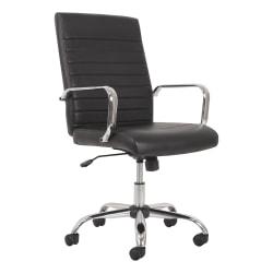 HON® Sadie Ergonomic Bonded Leather Mid-Back Executive Chair, Black/Chrome