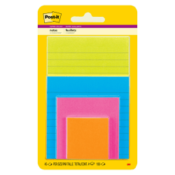 Post-it® Super Sticky Notes, Multi Sizes, Rio de Janeiro Collection, Lined and Unlined Notes, 4 Pads/Pack, 45 Sheets/Pad