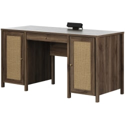 """South Shore Talie 60""""W Computer Office Desk, Natural Walnut/Printed Rattan"""