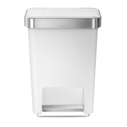 simplehuman® Rectangular Step Can With Liner Pocket, 12 Gallons, White