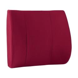 "DMI® Contour Foam Lumbar Back Support Cushion Pillow With Strap, 14""H x 13""W x 3""D, Burgundy"