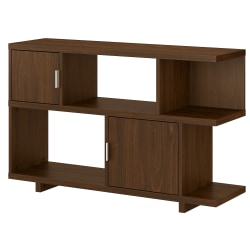 "kathy ireland® Home by Bush Furniture Madison Avenue 30""H 2-Shelf Low Geometric Bookcase With Doors, Modern Walnut, Standard Delivery"