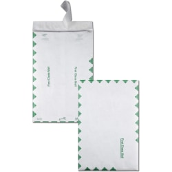 "Quality Park® Tyvek® Envelopes, First Class, 14 Lb., 10"" x 15"", Green/White, Box Of 100"