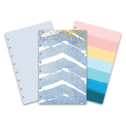 TUL™ Discbound Reversible Notebook Covers, Junior Size, Denim Chevron/Bright Stripe, Pack Of 2 Covers