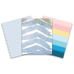 TUL™ Discbound Reversible Notebook Covers, Letter Size, Denim Chevron/Bright Stripe, Pack of 2 Covers