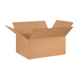 "Office Depot® Brand Multi-Depth Corrugated Cartons, 26"" x 20"" x 12"", Scored 10"", 8"", 6"", Kraft, Pack Of 10"
