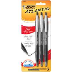 BIC® Atlantis™ Bold Retractable Ballpoint Pens, Bold Point, 1.6 mm, Translucent Barrel, Black Ink, Pack Of 3