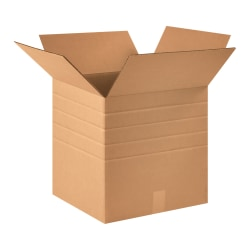 "Office Depot® Brand Multi-Depth Corrugated Cartons, 16"" x 16"" x 16"", Scored 14"", 12"", 10"", 8"", Kraft, Pack Of 10"