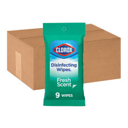 Clorox On The Go Disinfecting Wipes - Wipe - Fresh Scent - 9 / Packet - 2688 / Bundle - White