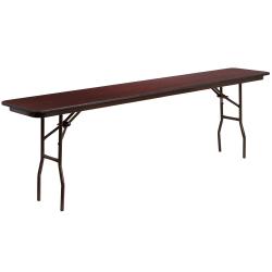 "Flash Furniture High-Pressure Folding Training Table, 30""H x 18""W x 96""D, Mahogany"