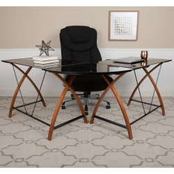 "Flash Furniture 83-1/4"" L-Shaped Corner Computer Desk With Keyboard Tray, Black"