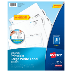 Avery® Big Tab™ Printable Large Label Dividers, Easy Peel®, White, 5 Tabs, Pack Of 20 Sets