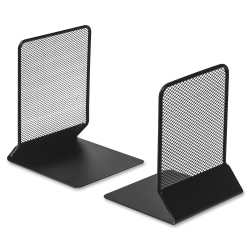 Lorell® Mesh Bookends, Black, Set Of 2